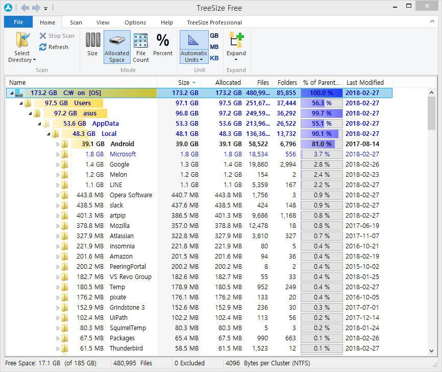 TreeSize 분석 화면