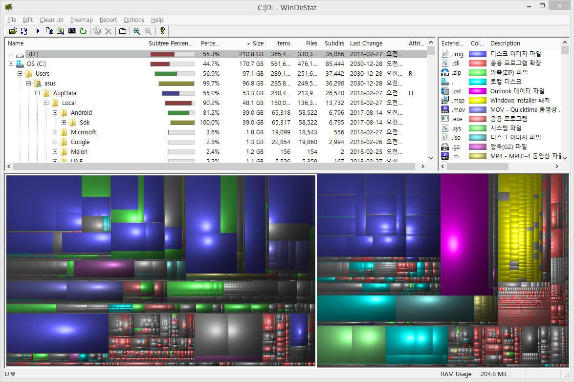 WinDirStat 분석 화면 (2)